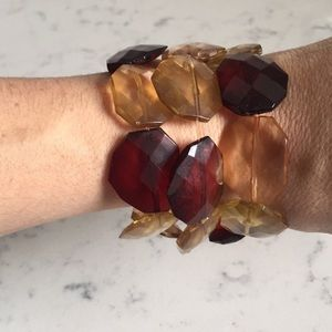 Jewelry - Burgundy and Champagne Color Gem Bracelets